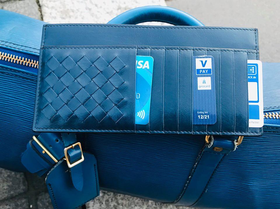 Bottega Veneta Wallet Dark Blue NEW Men/Women