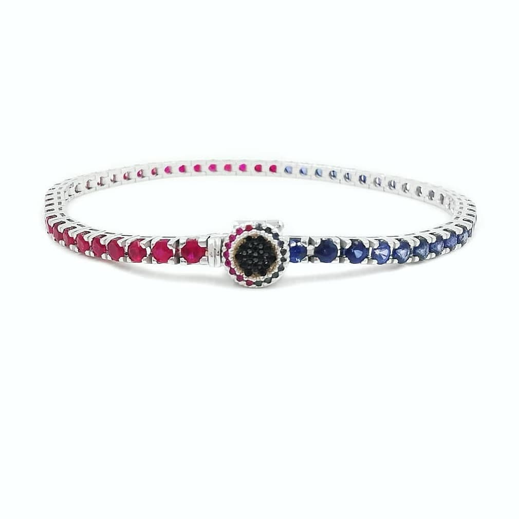 Bezel Tennis Bracelet Pepsi 18 Ct Gold Sapphires/Rubies € 2960