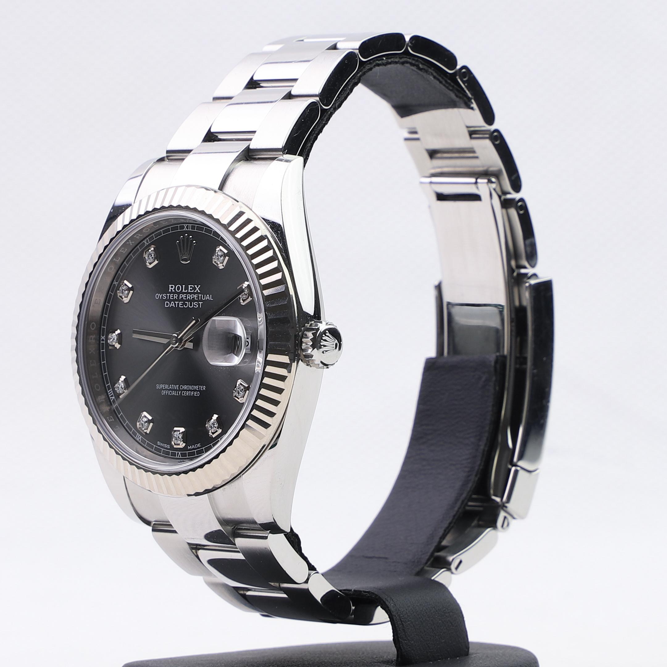 Rolex Datejust 41 Dark Rhodium Diamond Dial 126334