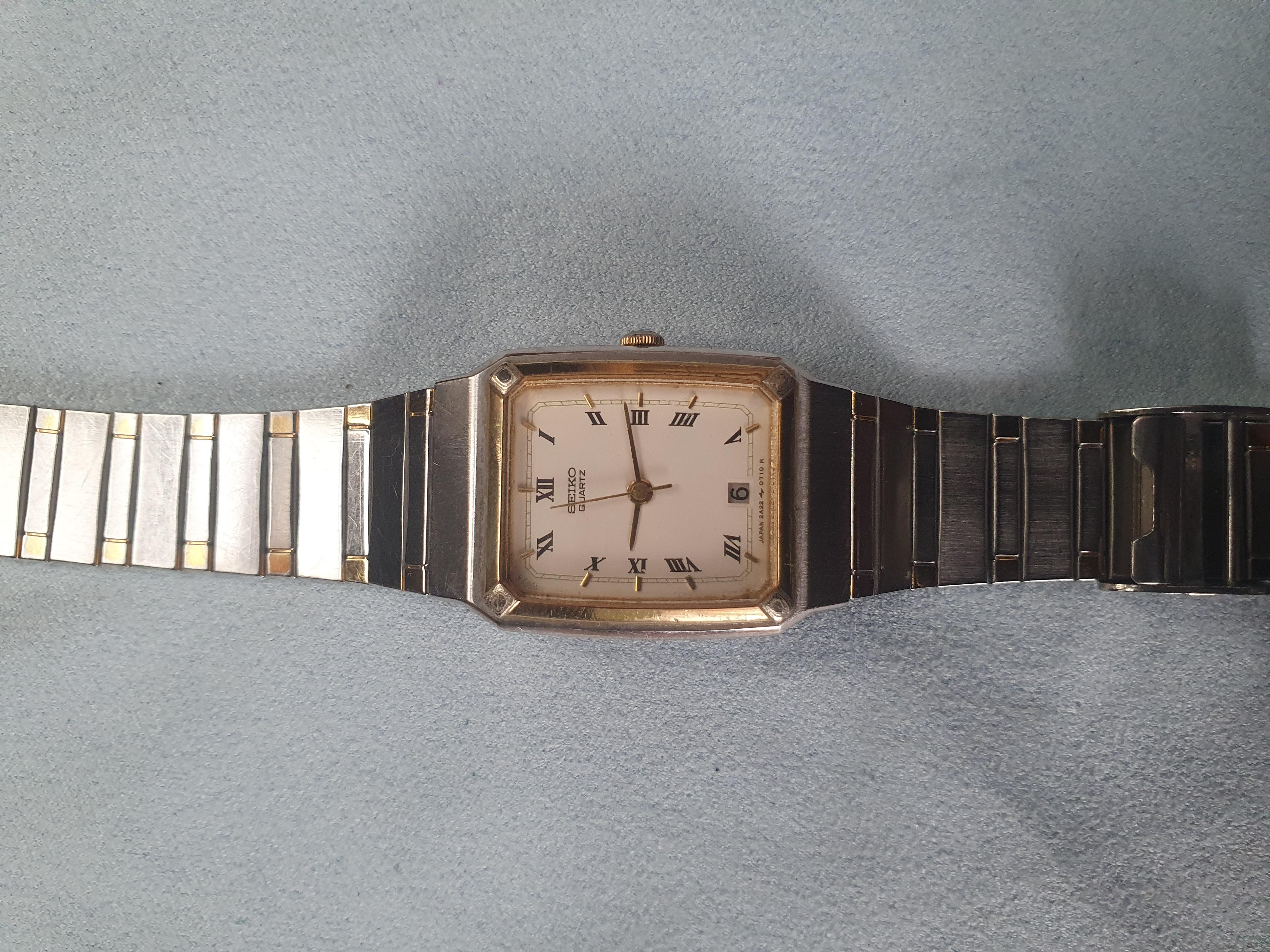 Seiko Rectangle Quartz Unisex Two Tone Vintage Watch 2A22 – 3200 R0