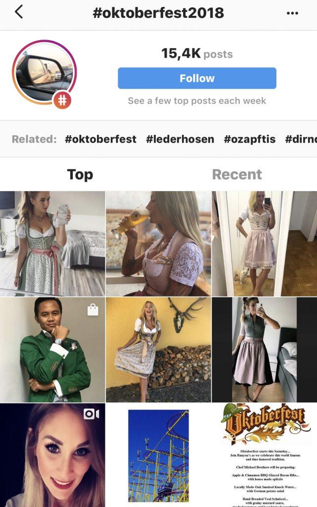 Hashtag #Oktoberfest2018 bei Instagram